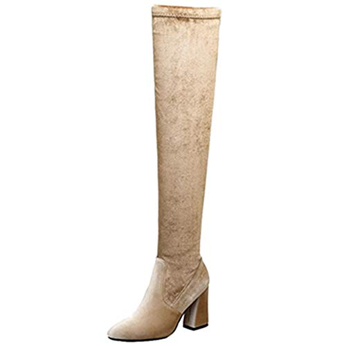 Fashion High Casual Over Sjjh Boots Apricot Thigh the knee Women 5tHtnqwX