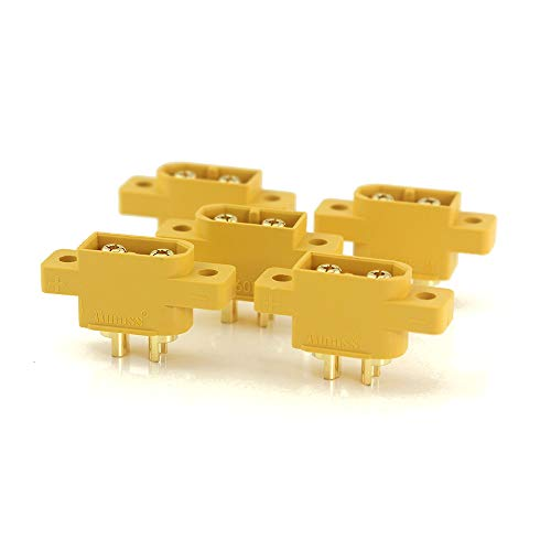 Amass XT60E-M Mountable XT60 Male Plug Connector for Racing Models Multicopter Fixed Board DIY Spare Part(5 PCS) ()