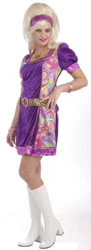 Funky Time Adult Costumes (Forum Novelties Women's 60's Revolution Mod Funky Time Costume Dress, Multi, X-Small/Small)