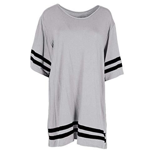 Taille Sleeve Stripe Pulls Zhrui manches 12 à larges Gris couleur à Tshirts rayures Femme Gris courtes AHwwOxaq