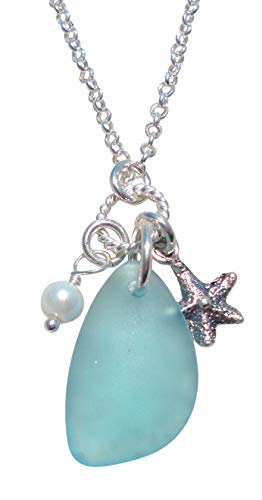 Necklace Starfish Glass (Beautiful SEA GLASS Charm Necklace - Aqua-Blue Cultured Sea Glass - Sterling Silver 18