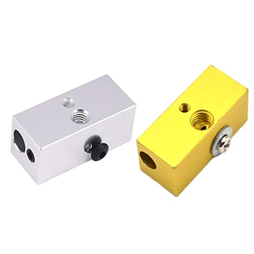 Gimax Double Heater Blocks 2 in 1 Out Multi Color Part for Extrusion 3D Printers Parts 1.75mm Filament Fixed Heating…