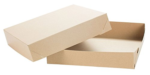 Kraft Pinstripe TUCKit Gift Box 2 Piece 50 Count 12x12x2.5 - Piece Gift Two Boxes