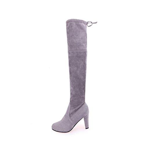la estiramiento rodilla Faux botas mujeres ® las adelgazan Gris Botas altas Mujer de altos lujo los Ouneed de zapatos sobre talones de los Las 081nqBw