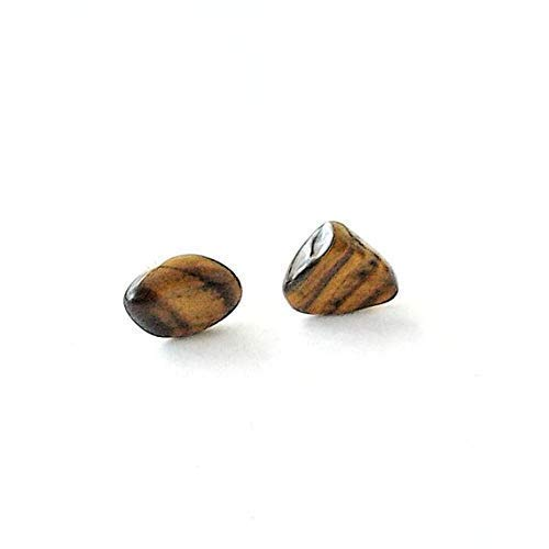 Natural Tiger's Eye White Gold Earrings - Men's Raw Crystal Studs