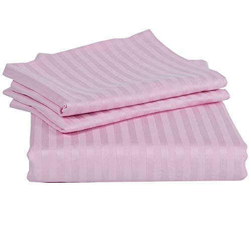 Ras Décor Linen 400-Thread-Count 100% Cotton Bed Sheets Pink Stripe Full Sheet Set, 4-Piece Long-Staple Combed Cotton, Breathable, Soft & Sateen Weave Fits Mattress Upto 18'' Deep Pocket (Best Reasonably Priced Mattress)