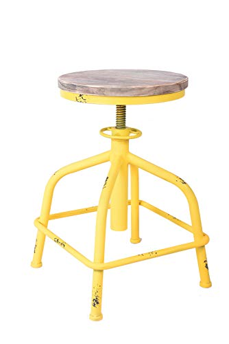 Topower American Antique Industrial Design Leather Bar Stool Round Seat Adjustable Swivel Bar Stools in Exterior House Design Yellow, Wood
