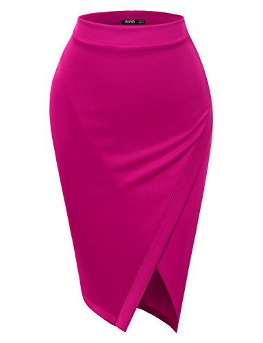 TWINTH Pencil Skirts Plus Size Casual Skirt Elastic Waist Band Scuba Streychy Solid Color Fuchsia 2XL