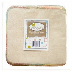 OsoCozy Flannel Baby Wipes - Reusable And Washable - Use With Cloth Diapers And Other Cleanups - Soft And Absorbent - 15 Pack (Unbleached)