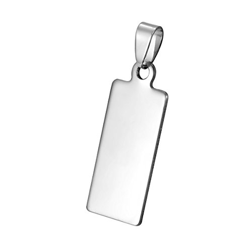 Rectangular Shaped Pendant (Stainless Steel Rectangular Strip Shaped Glossy Pendant With Lettering4.4x1.5cm-10 , White K)
