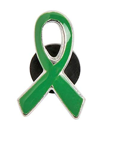 10 Green Awareness Ribbon Pins Support Kidney, Depression,