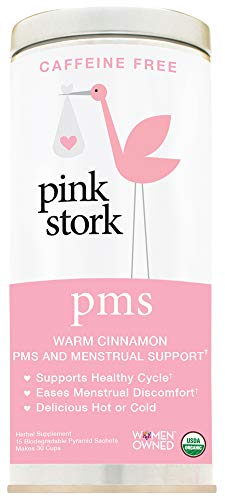 Pink Stork PMS Tea: Warm Cinnamon Tea, USDA Organic Loose Leaf in Biodegradable Sachets, Supports Healthy Cycle & Eases Discomfort, 30 Cups, Caffeine Free