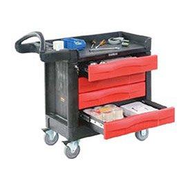 Four Drawer Single Dresser (Rubbermaid Commercial Trademaster 4 Drawer Mobile Work Center, 43
