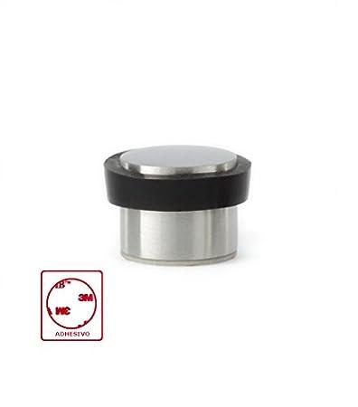 df7c7eb6a5 EVI Hardware I-163 Fermaporta adesivo, in acciaio Inox mate Satinato e  gomma nera