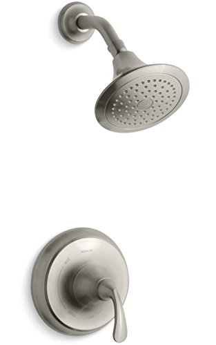 Kohler TS10276-4-BN K-TS10276-4-BN Forte Sculpted Rite-Temp Shower Valve Trim with 2.5 gpm showerhead Vibrant Brushed Nickel, 1
