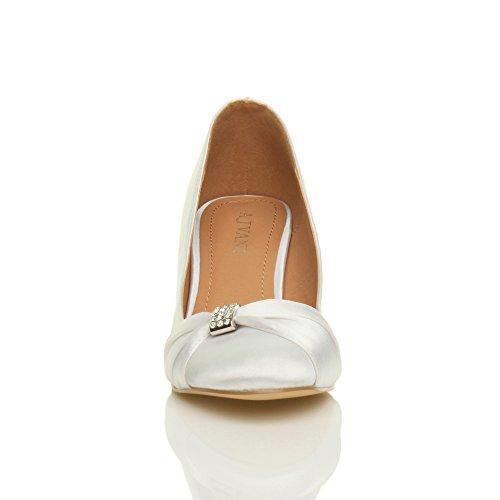 Ajvani - Zapatos de vestir para mujer blanco satinao
