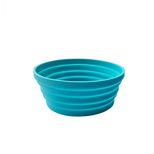 Silicone Expandable Collapsible Bowl Travel Camping Hiking, Blue (1 Pack)