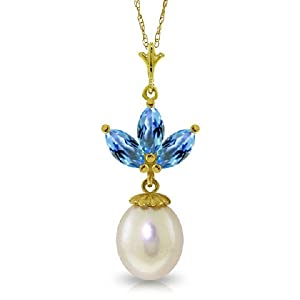 14K Solid Gold Necklace with Pearl and Blue Topaz