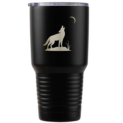 (Howling Wolf Black Stainless Steel Tumbler, 30 Oz Insulated Tumbler, Laser Etched In Usa)