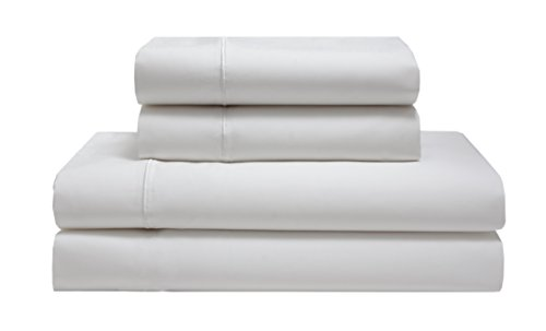 Elite Home Products Renaissance 600 Thread-Count 100% Cotton Sateen Solid Deep-Pocketed Sheet Set, White-1, King