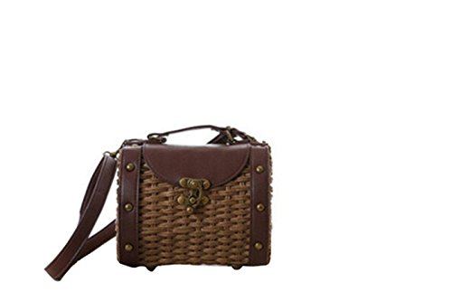 Knitted Straw brown Pu Vintage Shoulder Handmade Handbag Bag Cross Boho Body Leather EqxRBFC