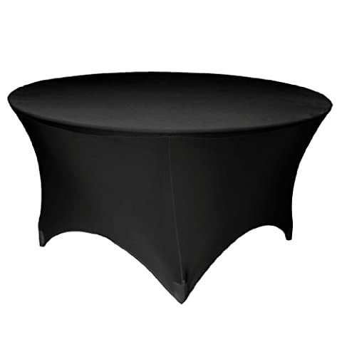 LA Linen Round Spandex Tablecloth, 60 by 30-Inch, Black