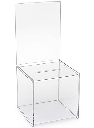 FixtureDisplays 8.5'' x 19.5'' x 8.5'' Acrylic Ballot Box w/ 8.5 x 11 Header - Clear 19240 19240 by FixtureDisplays