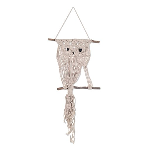 NOVICA Beige Handmade Cotton and Bamboo Macrame Wall Hanging, 'Owl Charm' ()