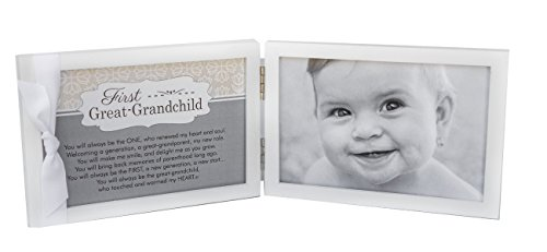 "First Grandchild Picture Frame- White Double Hinged Tabletop Photo Frame Holds 4""x6"" Pictures or Ultrasounds- Includes Beautiful Sentiment/Poem and Accented White Ribbon (Great Grandchild) from The Grandparent Gift Co."