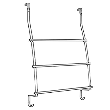 InterDesign Classico Over the Door Towel Rack with Hooks for Bathroom - Chrome