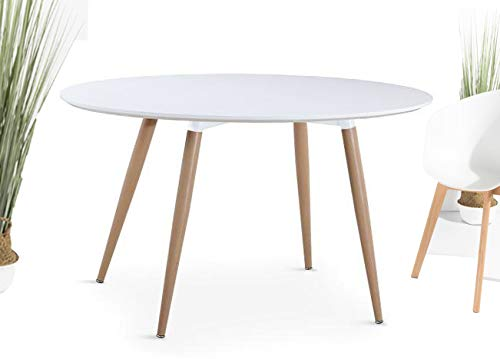 KOSMI - Mesa redonda blanca escandinava 6 personas diametro 120cm, mesa redonda