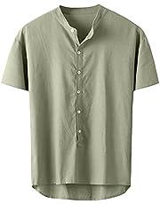 SSBZYES Heren shirt met korte mouwen zomer opstaande kraag effen kleur korte mouwen T-shirt casual T-shirt korte mouwen linnen overhemd katoen en linnen casual shirt