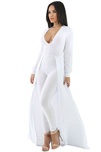 - Women's White Sexy Maxi Long Sleeve Overlay Elegant Party Pants Skirt Clubwear Romper Jumpsuit M