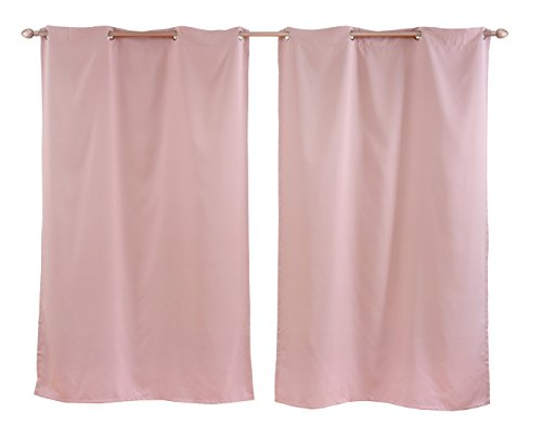 Honeymoon Thermal Insulated Blackout Grommet Window Curtain – Pink, 52″ x 63″ (Set of 2 Panels)