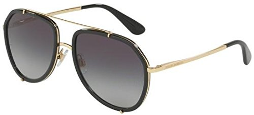 (Dolce & Gabbana Women's Metal Woman Sunglass Aviator, BLACK/GOLD, 55 mm)