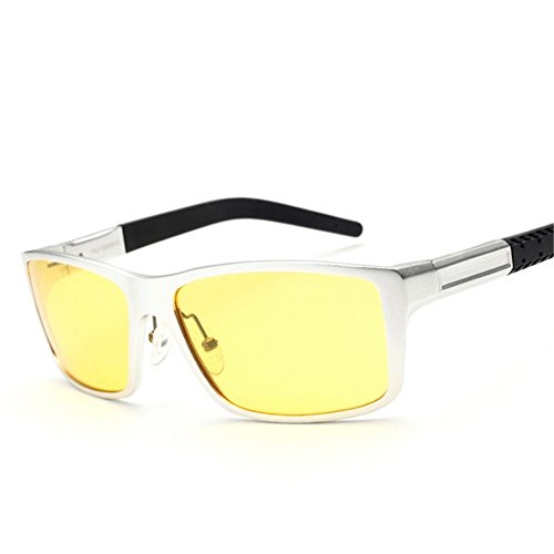 [Y-H Men's Eyewear Yellow Lens Cycling Sport Driver Special Night Use Anti-Glare Goggles Classes Polarize Fashion] (Man Of The Nights Watch Costume)