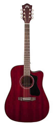 Guild D-125CE Mahogany Dreadnought Cutaway Acoustic-Electric Guitar with Case - Cherry Red Guild Gad
