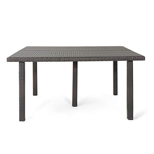 (Great Deal Furniture Fern Outdoor 64 Inch Multibrown Wicker Square Dining Table)