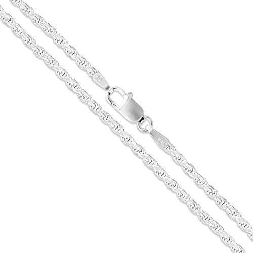 Sterling Silver Diamond-Cut Rope Chain 2mm Solid 925 Italy New Bracelet 10""