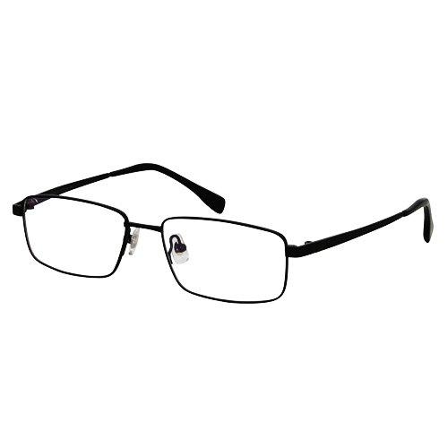 EyeBuyExpress Titanium Rectangle Black Reading Glasses Magnification Strength 3.5 by EyeBuyExpress