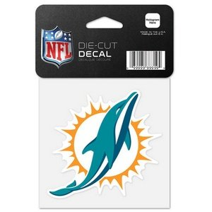 Miami Dolphins Official NFL 4 inch x 4 inch Die Cut Car Decal by Wincraft 630537