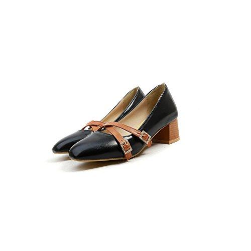 LSM-Talons MEI&S Femmes Bloc carré Peu Profond Tête Bouche Chaussures Black C1Pjb