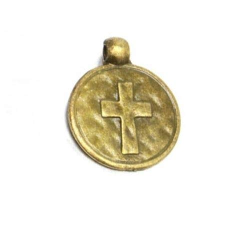 Pendant Jewelry Making Rustic Hammered Antiqued Bronze Christian Cross 16mm Medallion Charm or Pendant