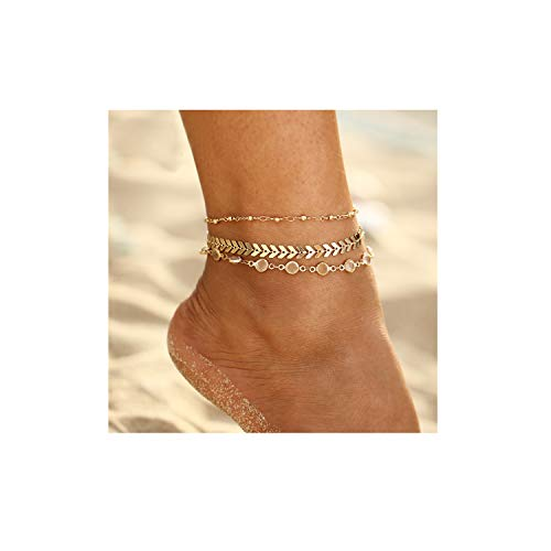 (FineMe Starfish Turtle Anklets Multiple Layered Boho Gold Chain Anklet Heart Beach Rhinestones Turquoise Stone Charm Anklet)
