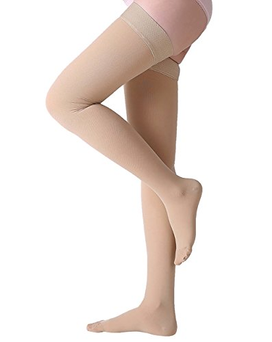 Closed Toe Stockings - Thigh High Compression Stockings, Closed Toe, Firm Support 20-30 mmHg Gradient Compression Socks with Silicone Band, Opaque, Best for Treatment Swelling, Varicose Veins, Edema, Pregnancy, Beige M