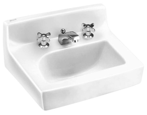 American Standard 0373.027.020 Penlyn Vitreous China Wall-Mount Lavatory Sink with Faucet Holes on 4-Inch Centers with Wall Hanger, White