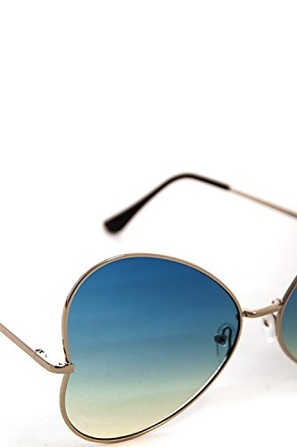 Women's High Fashion Retro Sunglasses Shades Mirrored Lens Frame HEART - Sunglasses Brown Doc