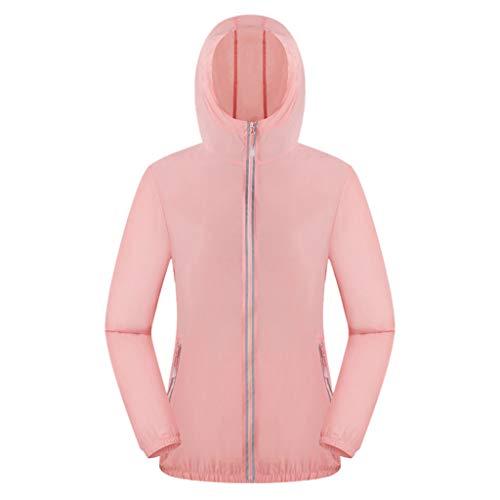 Pongfunsy Women Men Windproof Jacket Outdoor Bicycle Sports Quick Dry Windbreaker Coat Top Pink -