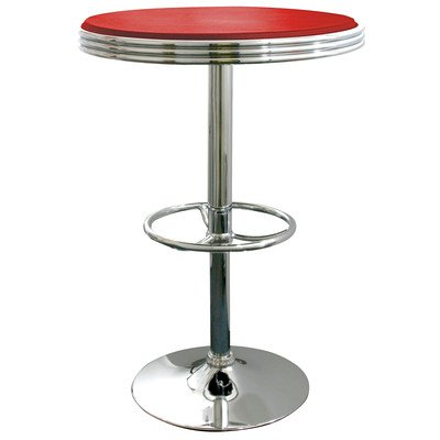 AmeriHome Soda Fountain Style Height Adjustable Home Kitchen Dining Pub Room Bar Table Red (Chrome Polished Soda Fountain)