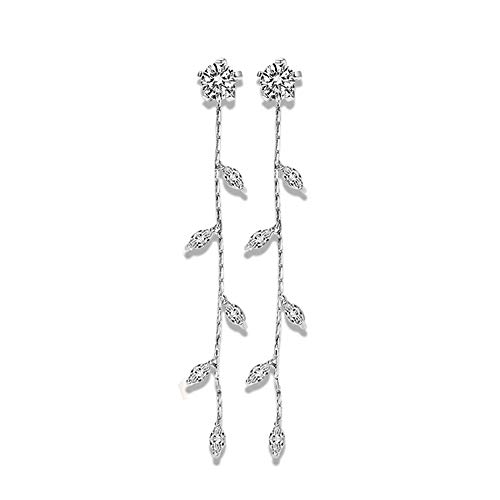 - FOTTCZ Jewellery Earring Silver Plated Needle No Allergy Stud Earrings, Wicker and Leaf Shape Imitation Diamond Studded, Tassels Diamond Pendant Earrings Silver